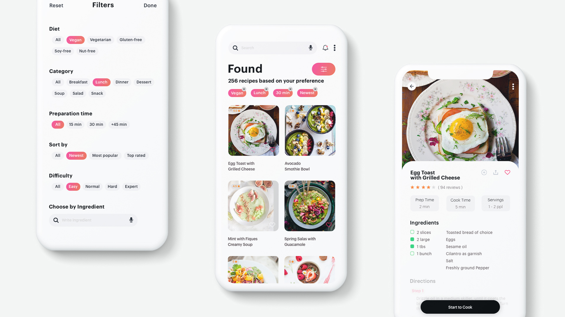 Food App filters, search results, recipe
