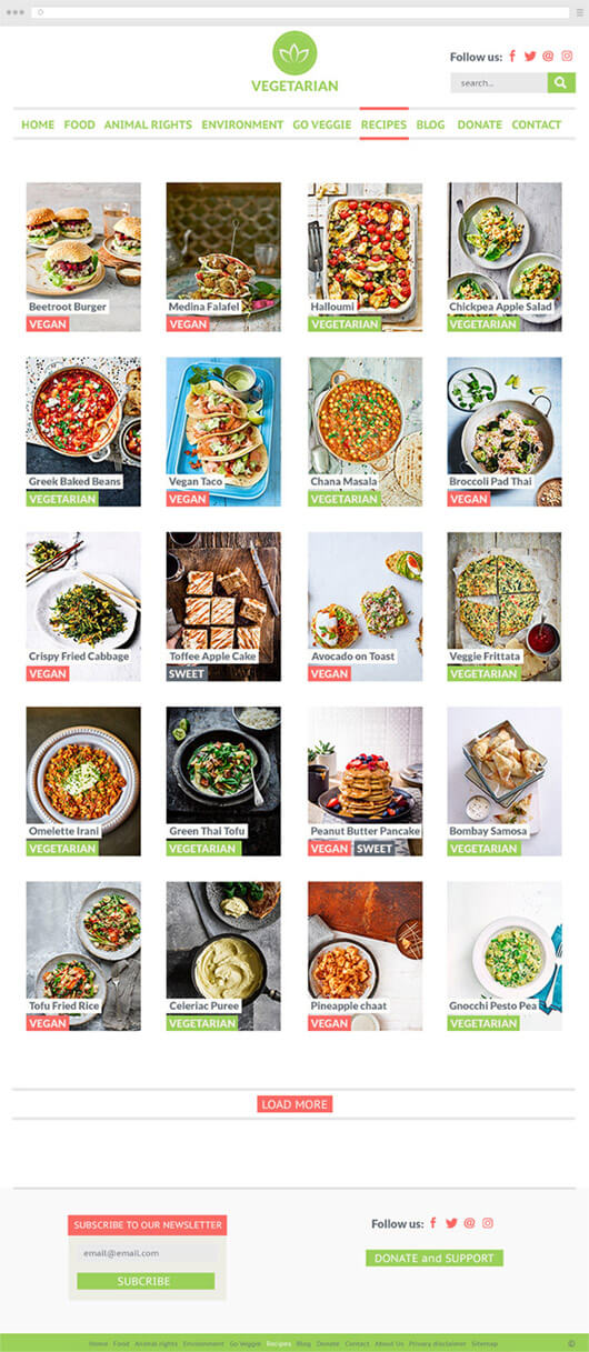 Vegetarian blog recipes collection page